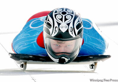 Jon Montgomery, of Russell, Man., starts a run during men's skeleton training at the Whistler Sliding Centre on Wednesday.