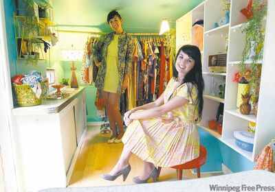 Oh So Lovely: Erin Thiessen, left, and Stefanie Hiebert relax in their retro-mobile vintage shop.