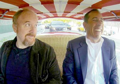 Louis C.K., left, amuses Jerry Seinfeld in web series talk show Comedians in Cars Getting Coffee.