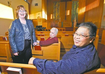 Cathy Horbas (from left) and Carol Allen of Christ Lutheran and Carlito Arceo of Living Christ Church.