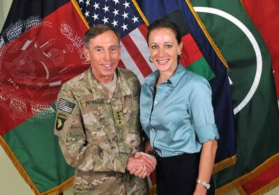 This July 13, 2011 photo, on the International Security Assistance Force's Flickr website, shows Gen. David Petraeus shaking hands with Paula Broadwell.