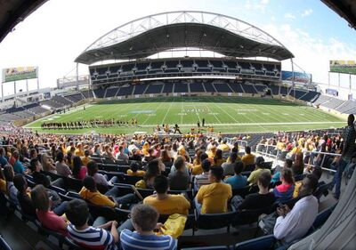 University of Manitoba students at a pep rally at Investors Group Field Tuesday afternoon.