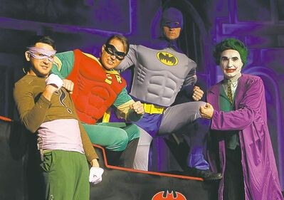 The Riddler (Terrence Martell), Robin (Derek Zeilstra), Batman (Tim Hamm)  and the Joker (Keith Eberhard) get ready for Sunday's performance.