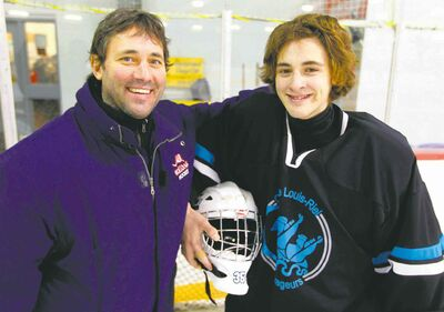 Churchill coach Mike Harris (left) will match wits with son Chris Harris, Louis Riel's goalie, when the schools meet on Wednesday.