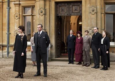 "This undated publicity photo provided by PBS shows, from left, Elizabeth McGovern as Lady Grantham, Hugh Bonneville as Lord Grantham, Dan Stevens as Matthew Crawley, Penelope Wilton as Isobel Crawley, Allen Leech as Tom Branson, Jim Carter as Mr. Carson, and Phyllis Logan as Mrs. Hughes, from the TV series, ""Downton Abbey."" PBS is setting the table for the ""Downton Abbey"" feast ahead with a preview special planned for broadcast in December. PBS' ""Masterpiece"" says ""Return to Downton Abbey"" will air on Dec. 1 with what is billed as ""a tantalizing taste"" of the upcoming season, which begins Jan. 5. (AP Photo/PBS, Carnival Film & Television Limited 2012 for MASTERPIECE, Nick Briggs)"