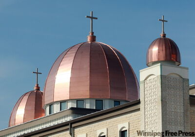 New copper domes replace ones damaged by hail at the Ukrainian Catholic Church of the Resurrection in Dauphin.