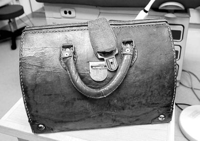 Dr. Sawchuk's old-school, second-hand medical bag.