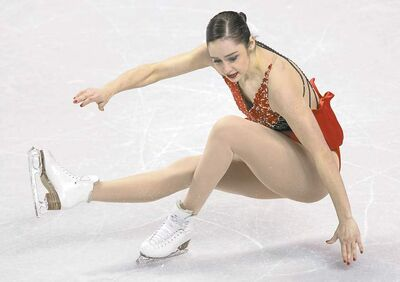 Frank Gunn / the canadian pressKaetlyn Osmond of Canada takes a spill in the women�s free program in London, Ont., on Saturday.