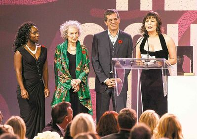 Giller Prize jury members, from left, Esi Edugyan, Margaret Atwood and Jonathan Lethem, with winner Lynne Coady.