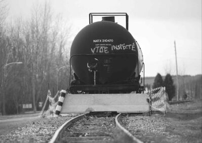 A railcar on a track in the town of Lac-M��gantic, Que., on Thursday, Nov. 21, 2013. (Graham Hughes / The Canadian Press)