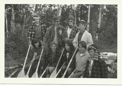 The group of paddlers in 1971 included Ted Spear (bottom right). He returned to assist with the trek in 1977.