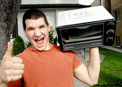 Derek Amero was thrilled after grabbing a free toaster oven during a previous giveaway weekend.