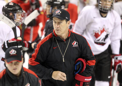 Head coach Kevin Dineen of Team Canada women's hockey.