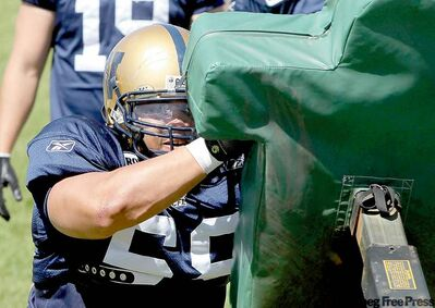 Winnipeg Blue Bombers' Joe Lobendahn likes to hit and never backs down.
