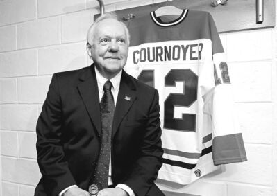 Habs legend Yvan Cournoyer and his jersey in the Montreal Canadiens Hall of Fame in Montreal.