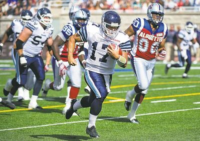 graham hughes / the canadian pressToronto Argonauts quarterback Zach Collaros runs in a touchdown Sunday in Montreal. Alouettes� Tanner Marsh may have won the battle of the rookie pivots last week, but Collaros took the rematch, as the Argonauts stole a win at Percival Molson Memorial Stadium.