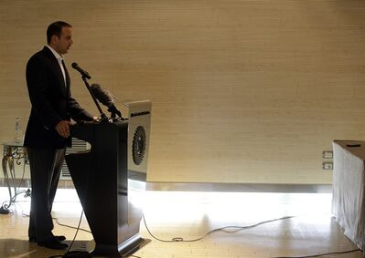 """Michael Kobold, a family friend of actor James Gandolfini, holds a press conference at the Exedra Hotel in Rome, Sunday, June 23, 2013. Kobold told reporters Sunday that the """"provisional plan"""" is to depart Rome on Monday afternoon for the United States, several days earlier than anticipated. Kobold thanked Italian and U.S. authorities, including U.S. Secretary of State John Kerry, his predecessor Hilary Clinton and former President Bill Clinton for helping with arrangements. Gandolfini, 51, died Wednesday in Rome. Kobold has said an autopsy revealed the cause was a heart attack. (AP Photo/Gregorio Borgia)"""