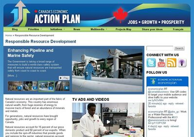 The web page for CEAP's Responsible Resource Development page is shown on Monday Feb. 18, 2013. Focus-group testing on what the Harper government calls its Responsible Resource Development campaign found the advertising to be light on facts but uplifting and patriotic, according to a government-commissioned study. THE CANADIAN PRESS/HO
