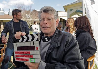 "Stephen King is pictured on the set of ""Under The Dome."" When he met with reporters Thursday, the prolific author was asked what scares him.""You guys,"" he deadpanned. THE CANADIAN PRESS/HO, CBS Broadcasting Inc."
