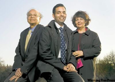 The medical family of geriatrics specialist Dr. Samir Sinha and his parents, Dr. Sach Sinha (left) and Dr. Meera Sinha.