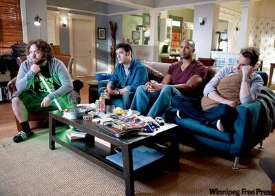 Let's hear it for the boys: From left, Dan Fogler, Mather Zickel, Henry Simmons and Christopher Moynihan.