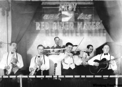 Andy De Jarlis plays some jigs, reels and breakdowns with his band in a photo taken from the book on his life.The Metis fiddling legend composed many songs with Manitoba references. De Jarlis performed in Winnipeg dance halls and recorded on the London and Quality labels.