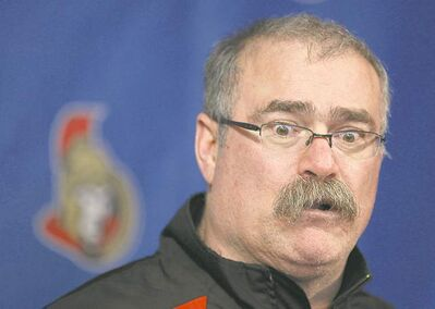 OTTAWA ON.: APRIL 28, 2012 --  Head coach Paul MacLean of the Ottawa Senators speaks to the media before the summer break, at Scotiabank Place, in Ottawa, On, on April 28, 2012.  (Jana Chytilova / Ottawa Citizen ) (For SPRT Section)  ASSIGNMENT NUMBER 108705