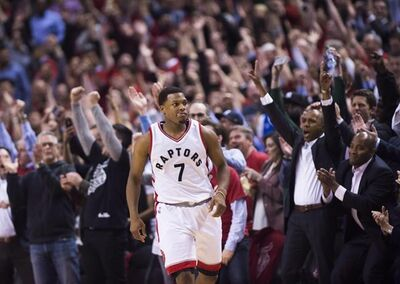 The crowd reacts after Toronto Raptors guard Kyle Lowry (7) sunk a basket in the last seconds of second half NBA playoff basketball action against the Milwaukee Bucks, in Toronto on April 18, 2017. This week it wasn