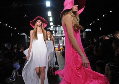 The DKNY Spring 2012 collection is modeled Sunday, Sept. 11, 2011, during Fashion Week in New York. (AP Photo/Louis Lanzano)