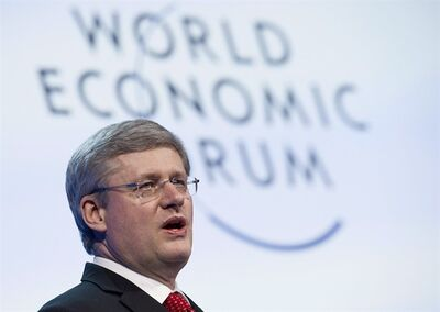Stephen Harper, Prime Minister of Canada, speaks during a plenary session at the 42nd Annual Meeting of the World Economic Forum, WEF, in Davos, Switzerland, Thursday, Jan. 26, 2012. Almost exactly one year ago, Prime Harper addressed a well-heeled audience in Davos, Switzerland, where he delivered what amounted to an ambitious throne speech. As parliamentarians return to Ottawa for 2013 following a six-week break, much of Harper's economic agenda from Davos appears complete, if not yet bearing fruit, as more economic turmoil looms. THE CANADIAN PRESS/AP/Keystone/Jean-Christophe Bott