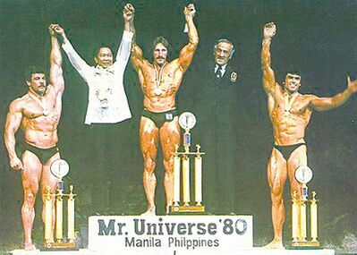 Garry Reid Schindle (left) places second in international competition in 1980.