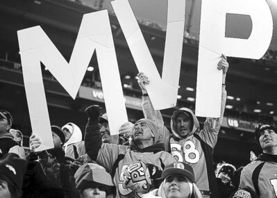 Broncos' fans make their case for Peyton Manning in the final seconds of Denver's game against the Chiefs on Sunday, December 30, 2012, at Sports Authority Field in Denver, Colorado. The Denver Broncos defeated the Kansas City Chiefs, 38-3.