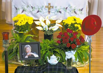 MacNeil's ashes rest in a teapot at her funeral at St. Mary's Church in Big Pond, N.S.