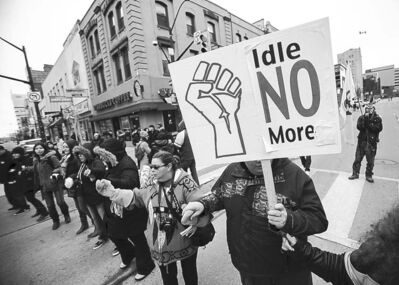 Idle No More demonstrators gather in London, Ont., in March.