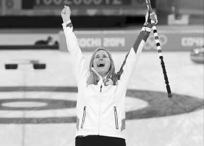 Jennifer Jones reacts after winning the Olympic gold medal in women�s curling.