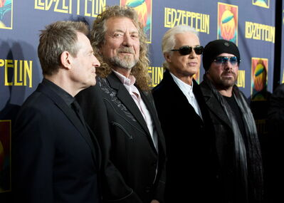 Led Zeppelin bandmates John Paul Jones, Robert Plant, Jimmy Page and Jason Bonham in 2012.