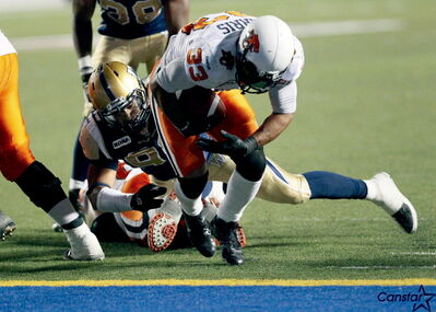 B.C. Lions running back Andrew Harris rumbled to his second consecutive MSSA male athlete of the year award.