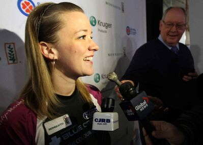 Skip Chelsea Carey from the Fort Rouge Curling Club was all smiles at news conference today after her team was seeded #1 at the 2014 Scotties Tournament of Hearts held in Virden, Manitoba. (JOE BRYKSA / WINNIPEG FREE PRESS)