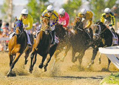 john woods / winnipeg free pressPaul Nolan and Balooga Bull (2nd from left) lead the pack around the first bend and go on to take the Manitoba Derby by 10 lengths at Assiniboia Downs Monday.