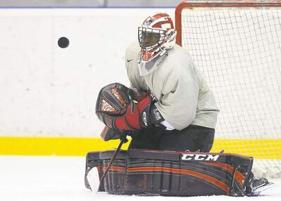Team Canada goalie Malcolm Subban makes a save during practice at world juniors in Ufa, Russia on Thursday.
