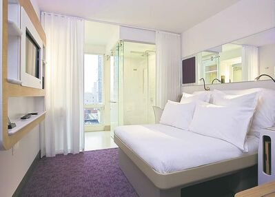 Photo courtesy of YotelThe 669 rooms at the new space-age Yotel New York are called cabins.  They are predominantly white and are a playground of innovation.