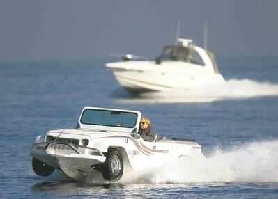 Watercar owner Dave Marsh takes the Panther on a test drive to Catalina Island.