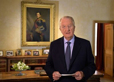 Belgian King Albert II addresses the nation, during a television speech at the Royal Palace in Brussels, Wednesday, July 3, 2013. Belgian King Albert has unexpectedly announced that he will step down in favor of his son, Crown Prince Philippe. on July 21, 2013. The move had been rumored for weeks and will end nearly two decades of steady reign over a fractious kingdom, one which has been increasingly torn apart by political strife between northern Dutch-speaking Flanders and French-speaking southern Wallonia. (AP Photo/Eric Lalmand, Pool)