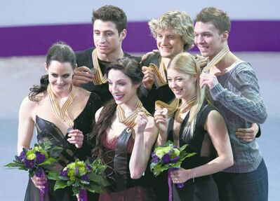 Frank Gunn / the canadian pressSilver medallists Tessa Virtue and Scott Moir (left) of Canada, gold medallists Meryl Davis and Charlie White (centre) of the U.S. and bronze medallists Ekaterina Bobrova and Dmitri Soloviev of Russia show off their dance medals.