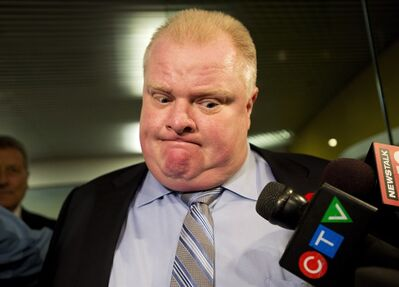 City of Toronto Mayor Rob Ford addresses the media outside office in Toronto on Thursday, Nov. 7, 2013. Ford was responding to a new video that was released. THE CANADIAN PRESS/Nathan Denette
