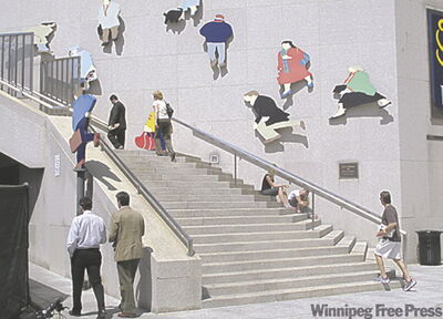 The windy people installation adorns the space between the Royal York and the Royal Bank Plaza on Front Street.