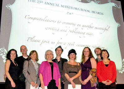 Winners (from left) Maureen Fergus, David Bergen, Sheila McClarty,  Dora Dueck, Greg Chomichuk, Michelle Elrick, Ariel Gordon, Jamis Paulson (accepting for Michelle Berry), and Lise Gaboury-Diallo.