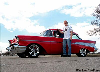 Bill Dixon with his 1957 Chevrolet, the MSRA Custom Cruiser of the year for 2010.