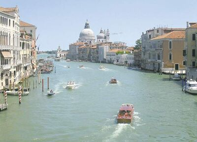 Water traffic bustling on the Grande Canale in the heart of Venice
