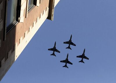 Four fighter jets pass over Bell MTS Place as thousands of Winnipeg Jets fans scream during the start of Game 1 of the Western Conference Final between the Jets and the Las Vegas Golden Knights in May 2018. (Ruth Bonneville / Winnipeg Free Press files)